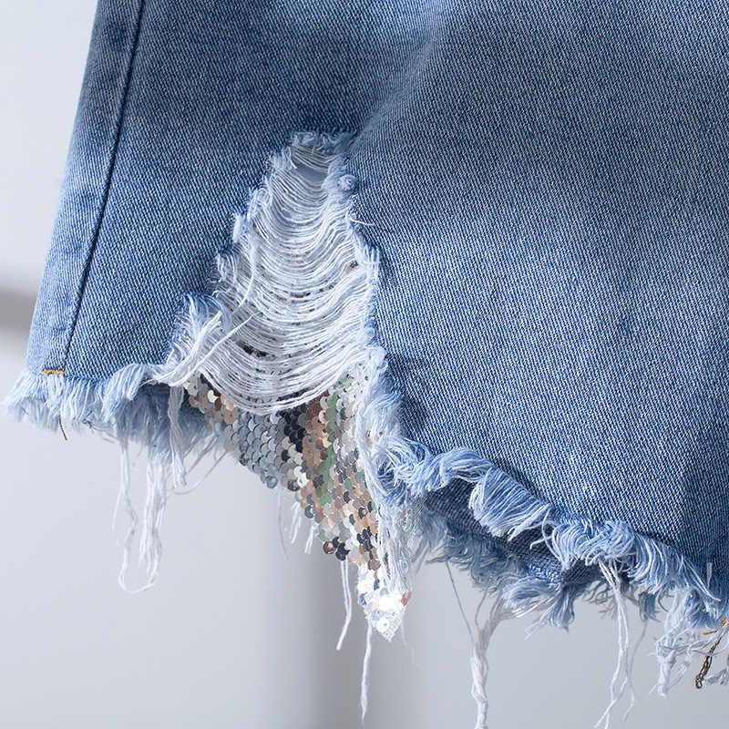 2019 neue sommer denim shorts frauen casual hohe taille shorts sexy taschen ripped loch herbst kurze femme Jeans klassische blau shorts