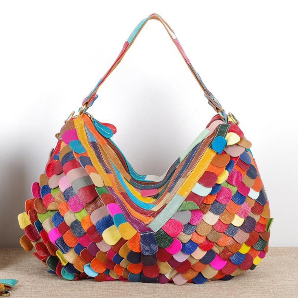 Caerlif casual Women Leather Handbags Shoulder Crossbody Bags Genuine Leather Bag Bolsas ladies tote bag colorful hobo bag