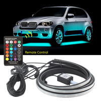 4x Car Decorative Light Underbody Underglow Atmosphere Lamp Flexible Strip APP/Remote Control Neon Lights Kit for General