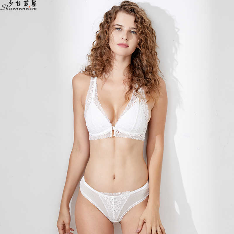 0a16bea5c25 Detail Feedback Questions about Shaonvmeiwu The front button lace bra set  and the back bra set gather the bra thin without steel ring on  Aliexpress.com ...