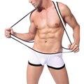 Homens Chegada novo Sexy Malha Roupa Interior Preto Branco Suspender Mens Bosysuit Big Strecth Bodywear Wrestling Singlet Plus Size S-XL