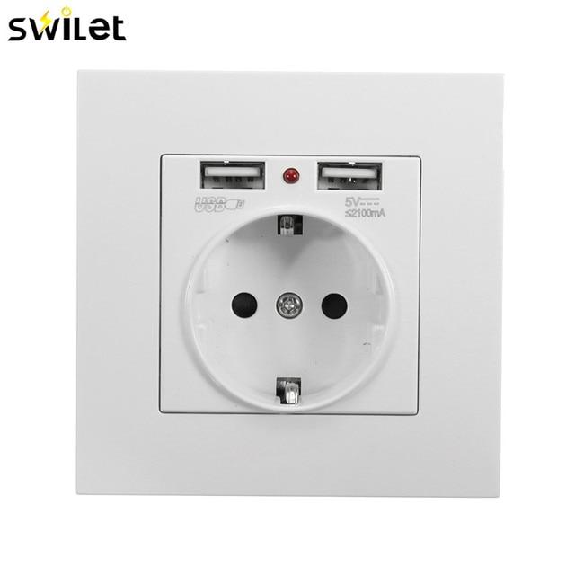 SWILET EU Standard 2.1A Dual 2 USB Ports Electric Wall Charger ...