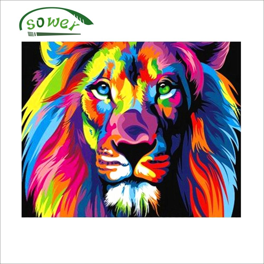 Lion Painting By Numbers Frameless Colorful Animals Abstract Painting Diy Digital Modern Wall Art Picture For