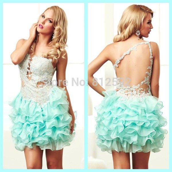 a0129e06cf Sexy One Shoulder Hollow Backless With Applique Ball Gown Cupcake Mini  Short Mint Green Homecoming Dress