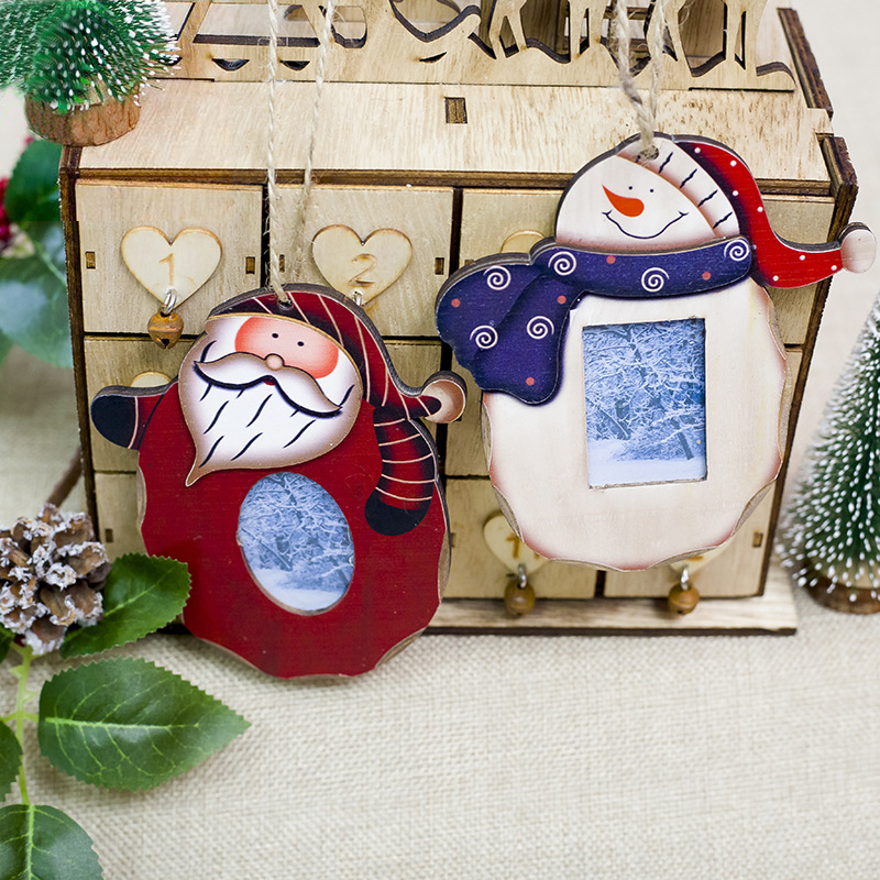 2019 Creative Christmas Photo Frame Pendant Christmas Tree Party Hanging Decor Switch Photo Frame Home Living Room Decor in Pendant Drop Ornaments from Home Garden
