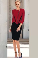 2015 Woman Sheath Winter Dress Casual Office Lady Work Dress Red Black Patchwork Long Sleeves Zipper