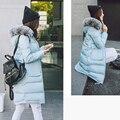 Средней Длины Вниз Пальто Женщин Теплая Верхняя Одежда Зима 2016 Новый 80% Утка Вниз Съемный Меховой Воротник Плюс Размер Бесплатная Доставка JD701
