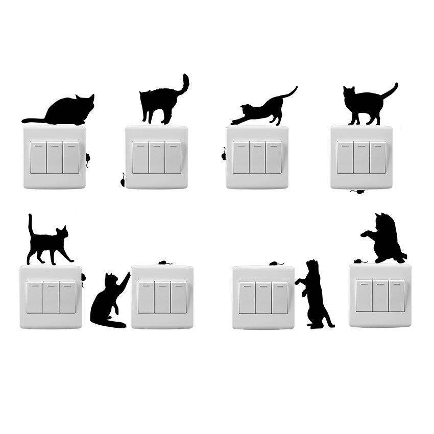 1 UNIDS Caliente Divertido Gato Y Ratón PVC Etiquetas Engomadas Del Interruptor