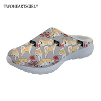 Twoheartsgirl Cute Akita Printing Women Flats Shoes Classic Home Slippers Female Hipster Sandals Custom Personalized Slippers