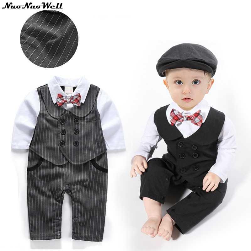 4336faa7e 2018 Gentleman Romper Baby Boy 1 PIECE ROMPER+HAT Jumpsuit Gentle Romper  Suit Wedding Party