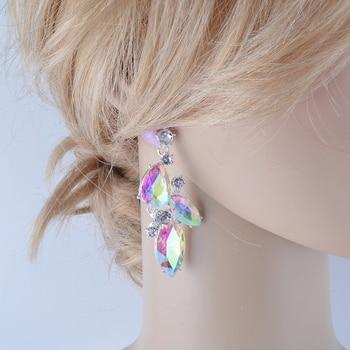 dd3cc97a1283 Elegante plateado AB color Boda nupcial Rhinestones cristal cuelgan gota  pendiente regalo para las mujeres joyería del partido