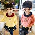 Frete grátis primavera/outono de lazer da moda de ponta menina suéter de lã
