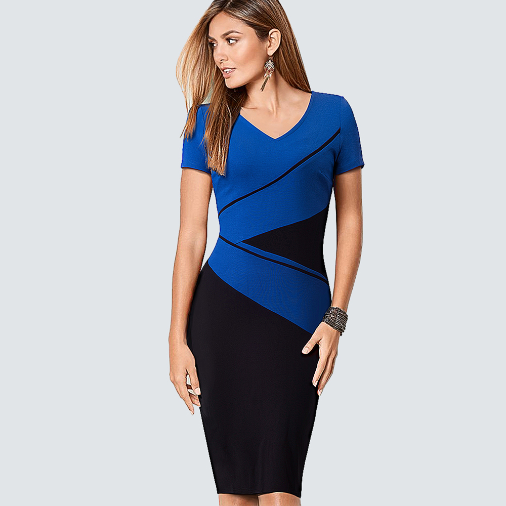 057ccc79f3f4 Φορέματα Plus Size Casual Contract ColorBlock Lady Dress Women Classic V  Neck Work Office Business Sheath Bodycon Pencil Dress HB384