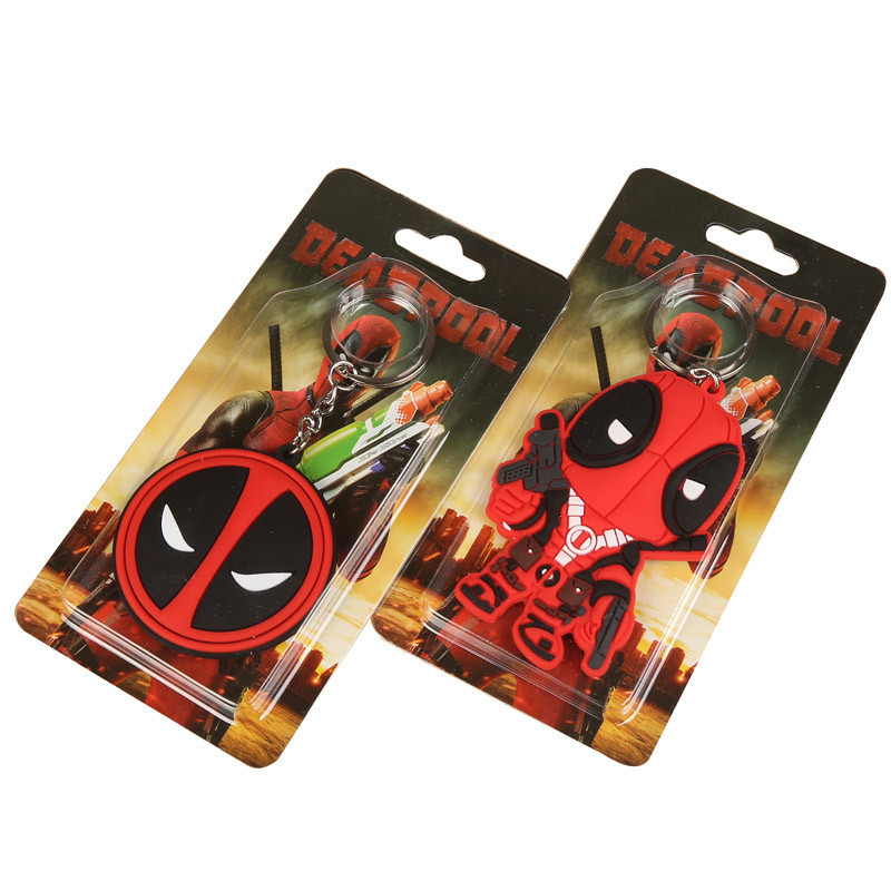 Wholesale Cartoon Anime Super Hero Deadpool Keychain mini figures PVC Action Figure Toys Silicone Pendant