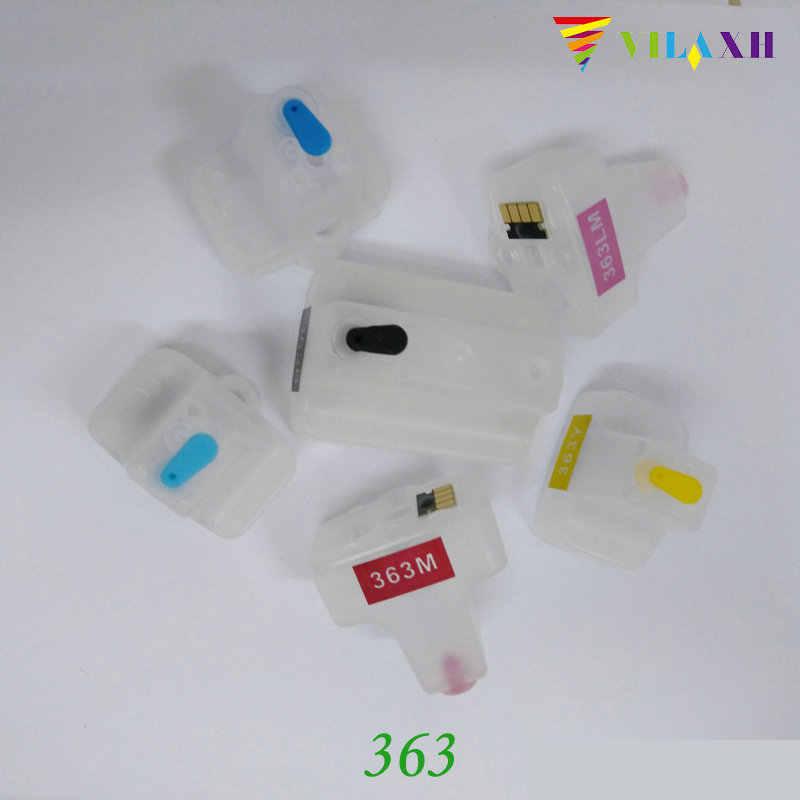 Vilaxh 363xl doldurulabilir mürekkep kartuşu HP yedek malzemesi 363 xl için Photosmart C5180 C6180 C6280 C7160 C7180 C7280 C8180 yazıcı