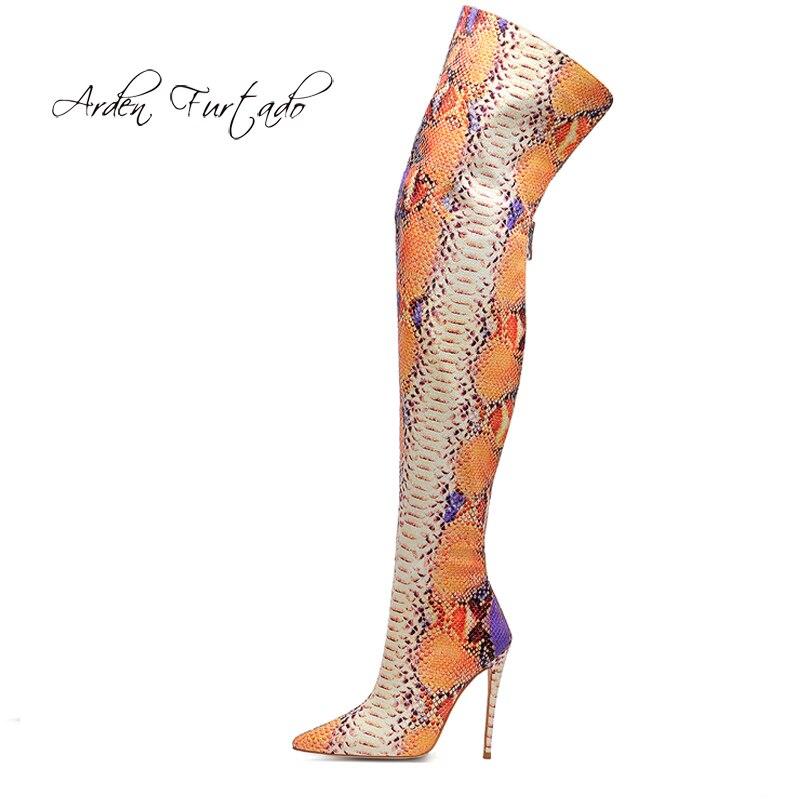 Arden Furtado moda zapatos de mujer 2019 punta puntiaguda tacones cremallera piel de serpiente sobre la rodilla muslo botas altas-in Botas sobre la rodilla from zapatos    1