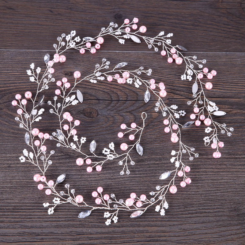Pink wedding headband crystal wedding hair accessories hair vine bridal Hairband Crown Headpiece Bride Bridesmaids Jewelry women crystal baroque flower headband handmade floral crown hairband party wedding wreath bridal headdress hair accessories
