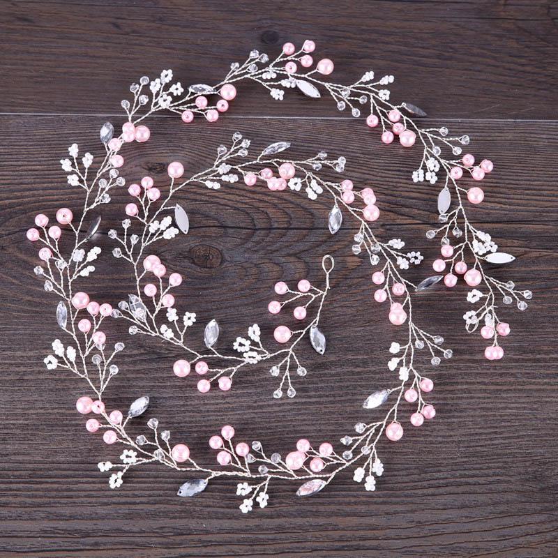 Pink wedding headband crystal wedding hair accessories hair vine bridal Hairband Crown Headpiece Bride Bridesmaids Jewelry