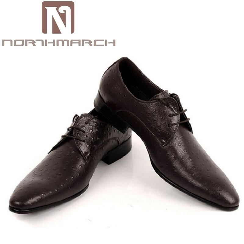 NORTHMARCH Luxury Brand Genuine Leather Men Dress Shoes Men Crocodile Italian Designer Wedding Shoes Black Brown Zapatos Hombre