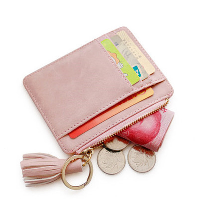 Matt Leather Mini Tassel Women Card Holder Cute Credit ID Card Holders Zipper Wallet Case Change Coin Purse Keychain Nubuck New
