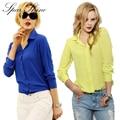 2016 Camisa de Las Mujeres camisas de La Gasa Tops Elegante Oficina Blusa 5 Colores Desgaste señora de la oficina tops Más El Tamaño XXL