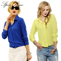 2016 Women Shirt Chiffon shirts Tops Elegant  Office Blouse 5 Colors office lady Wear tops  Plus Size XXL