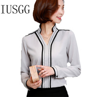 Women's Autumn Tops Chiffon Blouse Shirt Women Fashion V Neck Long Sleeve Black Side Wear to Work Ladies Office Blouse