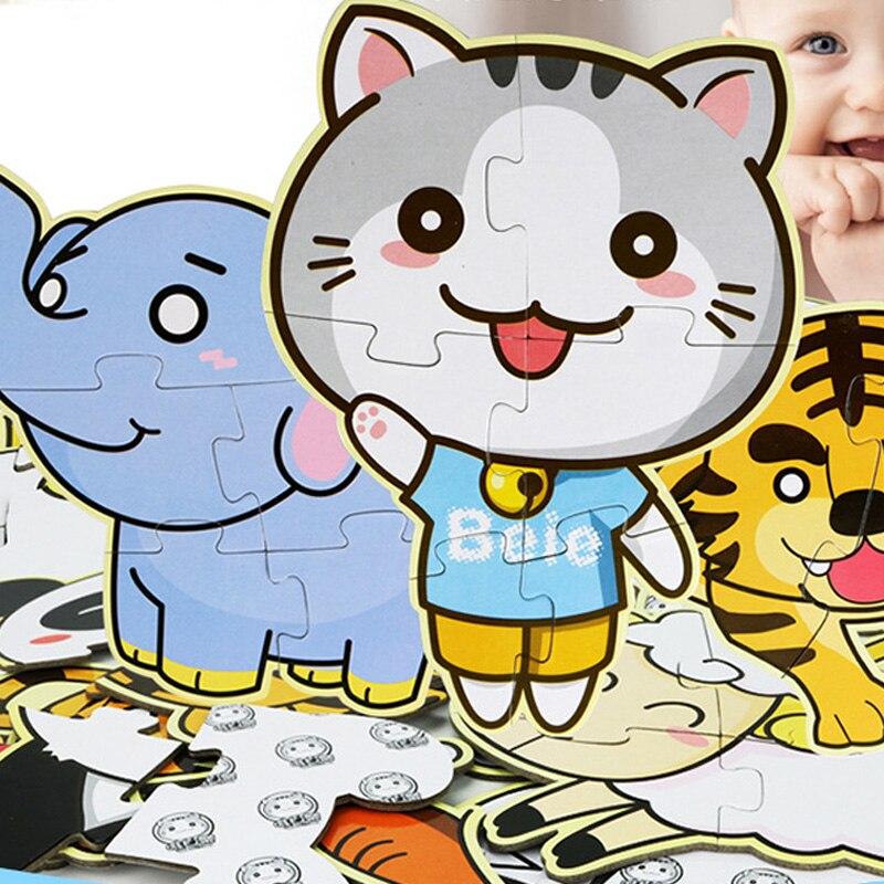 Раннее Образование Паззлы Животные слон кошка овец картину головоломки Паззлы Игрушечные лошадки для маленьких детей детские рождественс...