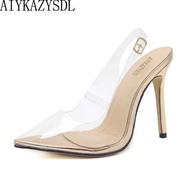 0af7577f6c1 AIYKAZYSDL Rose Gold Nude Women Sandals Pointy Toe Clear Transparent High  Heel Pump Stiletto Slingback Wedding Dress Jelly Shoes
