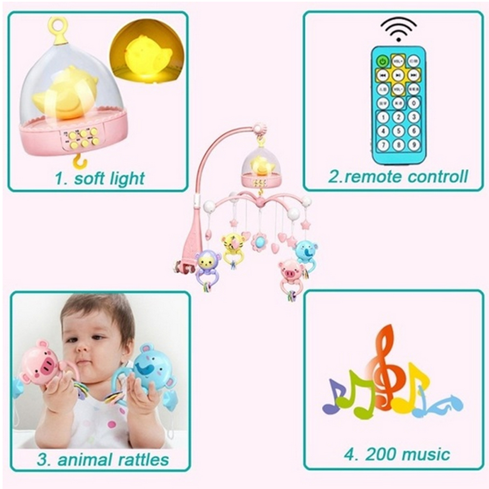 0 12 Months Baby Remote Control Rotating Musical Crib Baby Mobile Bed Rattle Bell baby toys 0 12 months Toys set baby speelgoed in Baby Rattles Mobiles from Toys Hobbies