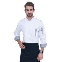 2017 High Quality White Long sleeves Unisex Hotel Restaurant Kitchen Chef Jacket Waiter Work Clothes Men Baking clothes Chef Coa