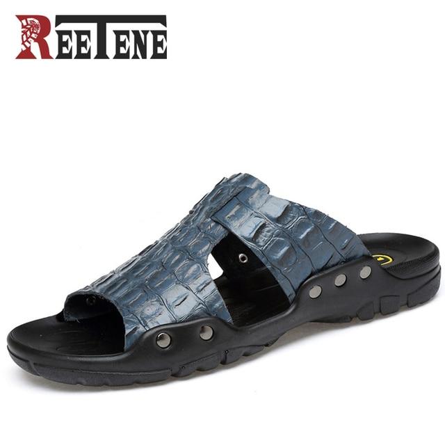 e79ee1ea78bd REETENE Plus Size 38-52 Summer Men S Shoes Genuine Leather Crocodile Men  Sandals Classic Men Flip Flops Slippers Beach Shoes Men