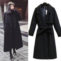 Elegant Black Wool Coat Women Autumn And Winter Fashion Maxi Long Women Woolen Coat Abrigo Mujer Plus Size Warm Outerwear C4893
