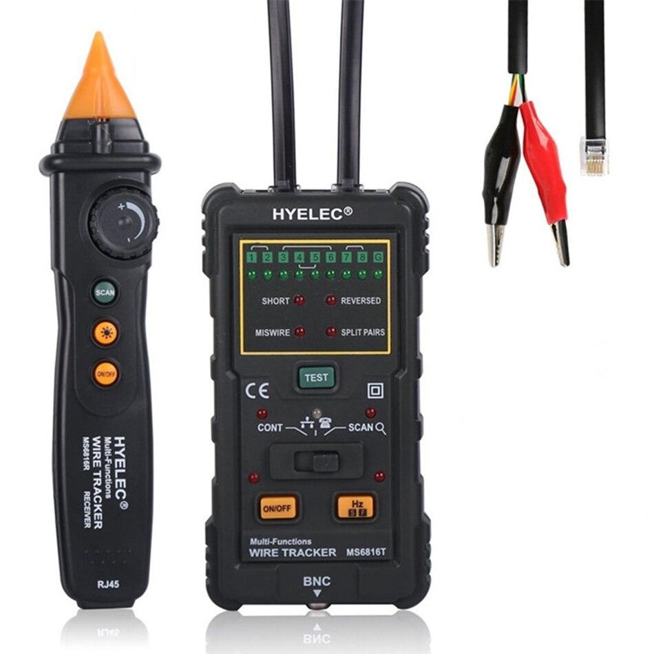 MS6816 professzionális többfunkciós kábel huzalkövető RJ45 RJ11 piros kábel tesztelő telefonvonal DC teszt eszköz szintje