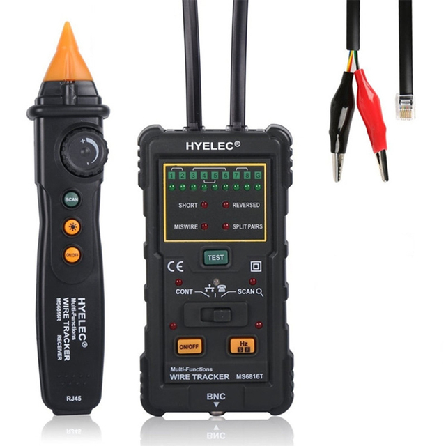 MS6816 Professional Multi-Function Cable Wire Tracker RJ45 RJ11 Red Cable Tester Track Telephone Line DC Test Tool Level