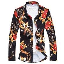 fashion mens long sleeve flower shirts 2018 brand new pure cotton plus size 7XL