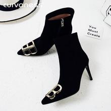 купить Women Stiletto High Heels Pointed Toe Double B Ankle Boots for Women Plush Winter Boots Plus Size 41 42 43 Women Winter Shoes по цене 3085.98 рублей