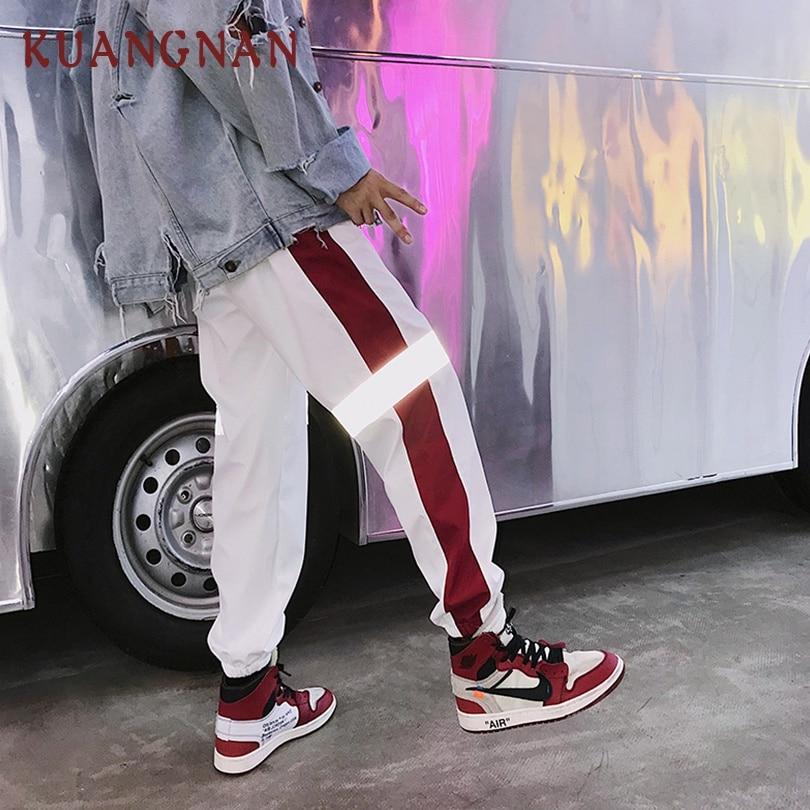 KUANGNAN Men Trousers Harem-Pants Joggers Streetwear Reflective Striped Hip-Hop