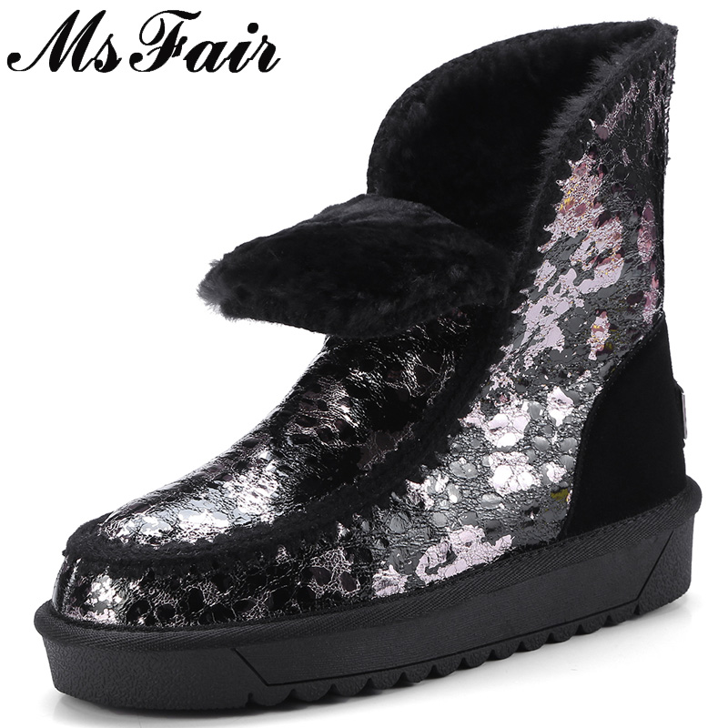 MSFAIR Women Snow Boots Mixed Colors Print Round Toe Flat Ankle Boots Winter Platform Wool Keep Warm Cotton Snow Boots For Girl platform bowkont flocking snow boots page 5