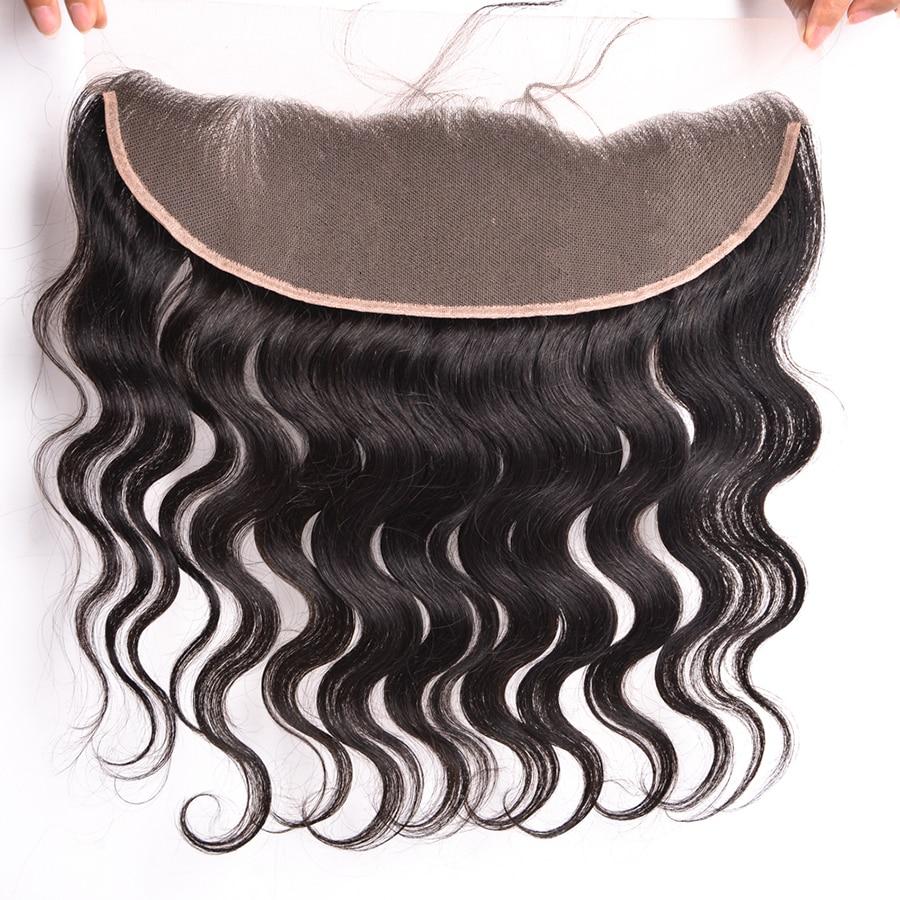 Wonder Girl 13x4 Brazilian Body Wave Snörning Frontal Closure With - Mänskligt hår (svart) - Foto 2