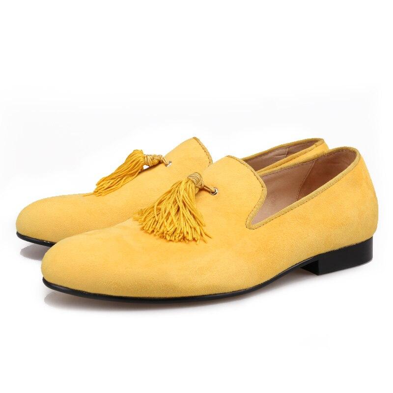 Piergitar nuevo estilo hecho a mano color amarillo hombres zapatos de terciopelo con borlas de moda fiesta y boda hombres zapatos de vestir mocasines masculinos - 5