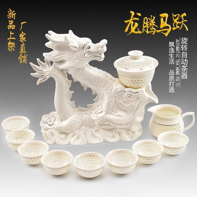Offre spéciale set de thé automatique pot tasse ensemble, Jingdezhen céramique bleu blanc porcelaine théière tasse pu'er Kung Fu set de thé livraison gratuite - 2