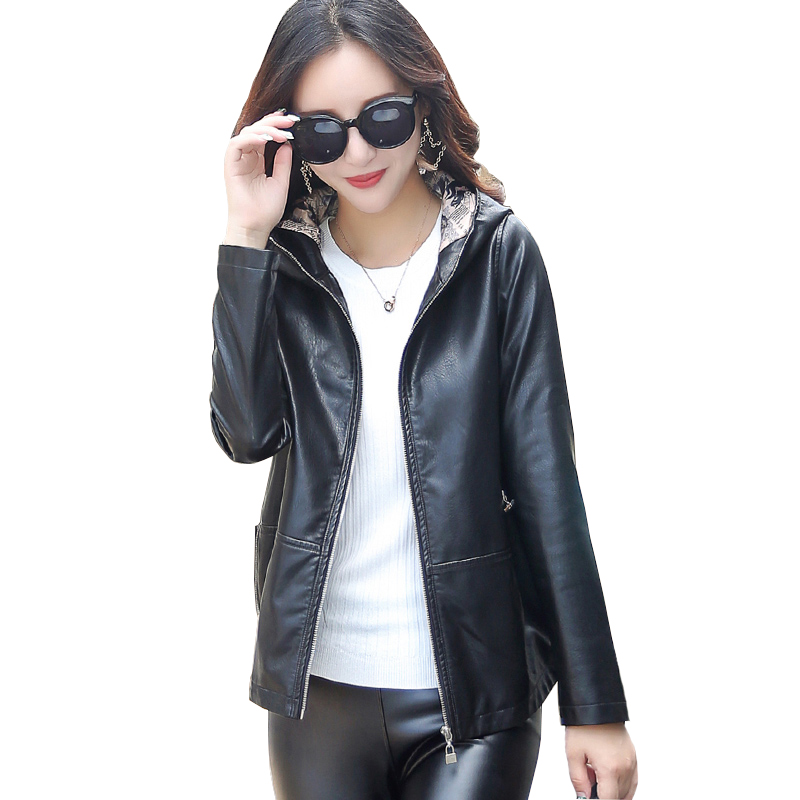 2018 Spring Autumn New PU Leather Women Jacket Short Haining Washed Leather Hooded Tops Female Fashion Loose Outwear Coat ky205 ...