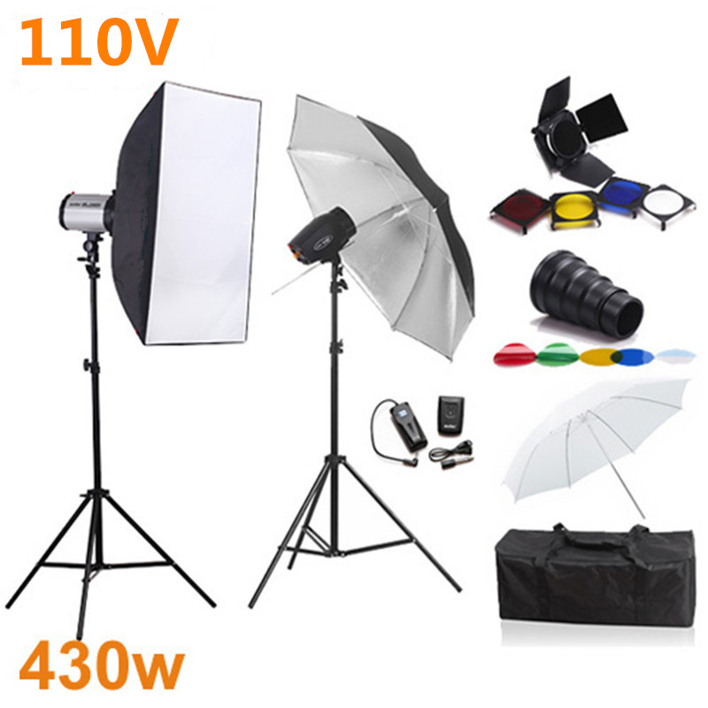 Photography Studio Soft Box Flash Lighting Kits 430ws 110V Godox Flash+Softbox+Snoot Barndoor+Stand+Umbrella+Trigger Receive Set помада by terry rouge terrybly цвет 302 hot cranberry variant hex name 770925