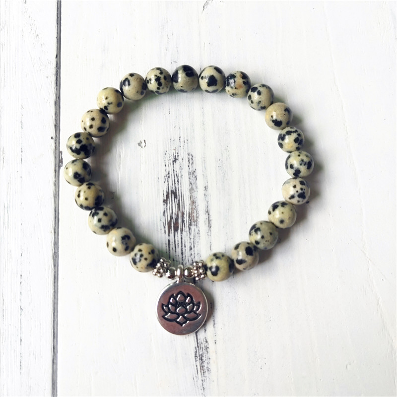 Charm Bracelets Dalmatian Jaspers Bracelet Lotus Yoga Mala Beads Solar Plexus Chakra Jewelry Healing Crystals Happiness Positivity Good Luck Bringing More Convenience To The People In Their Daily Life