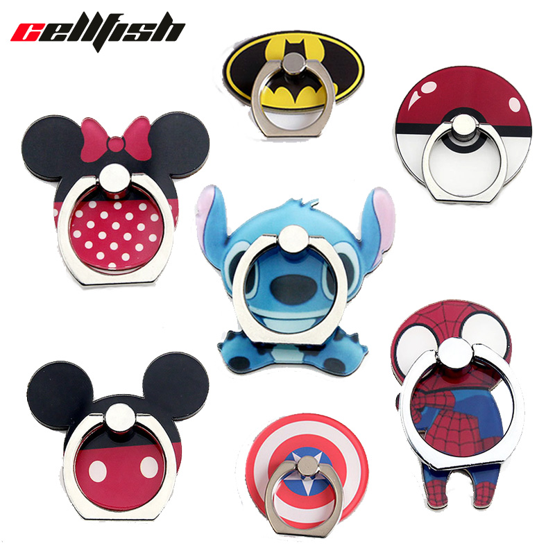 Finger Ring Stand Cell Phone Holder for iPhone Disneys Mickey Minnie Stitch 360 Grip Mount попсокет Kickstand Car Phone Holders Car phone