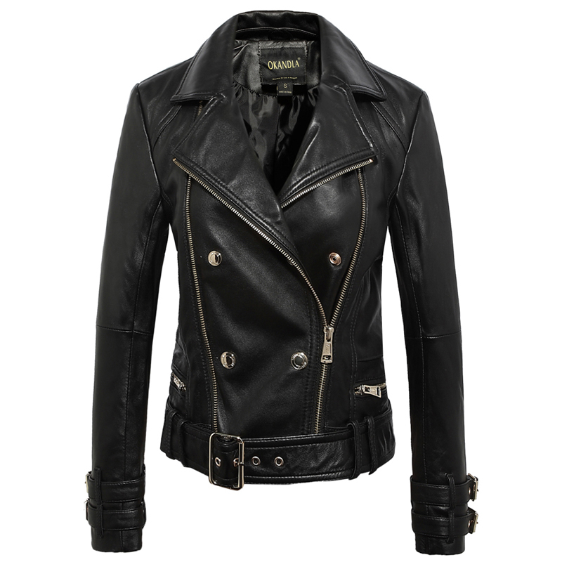 Weiche Straße Jacke Plus Größe Schaffell Jacke Biker Mantel 2018 Frauen Fashion Echtes Leder Jacken Schwarz Feines Handwerk Intellektuell Freies Verschiffen