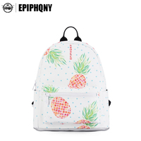 Epiphqny Brand Girl Pineapple Backpack Cute Fruit Printing Shoulder Bag For School Yellow Sweet Activate Daypack