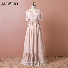 d7668adec00 JaneVini Blush Pink Long Bridesmaid Dresses With Sleeves Lace Chiffon Boat  Neck Women Formal Dress For Wedding Party Robe Soiree