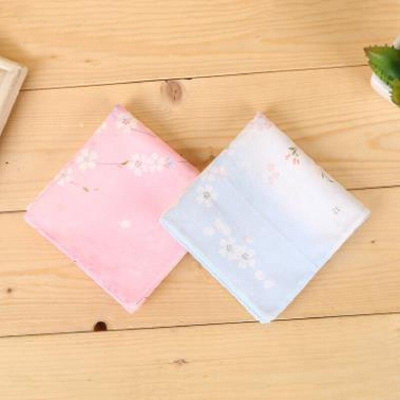 12pcs 45*45cm New 100% Cotton Handkerchiefs Business Women Gradient Cherry Blossom Handkerchief